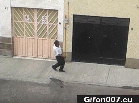 drunk man, fall on sidewalk