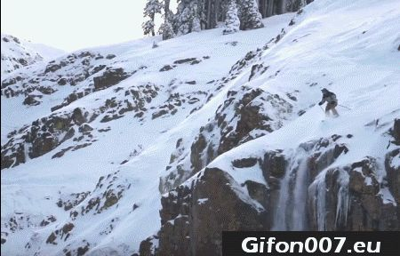 ski, skiing, rock, jump, fail, accident