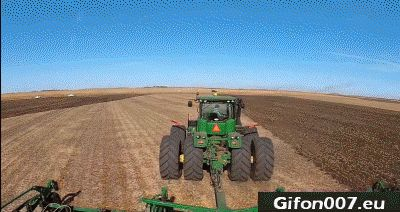 Large Tractor, Plowing, Gif