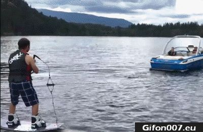 Water Surfing with Boat, Gif, Fail