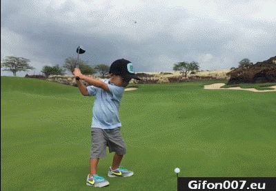 Super, Small Child Play Golf