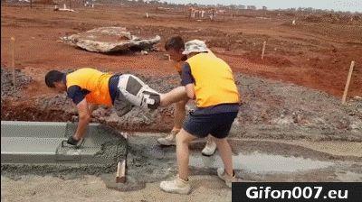 Funny Bricklayers, Concrete, Video, Gif