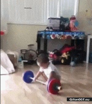 Funny Video, Child, Dumbbells, Strong, Gif