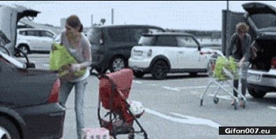 Funny Video, Mom, Baby, Shopping, Car, Gif