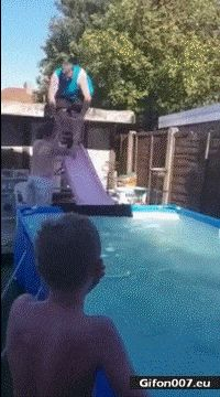 Funny Summer Fail, Water Slide, Video, Gif