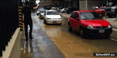 Funny Video, Big Puddle, Taxi, Gif