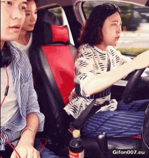 Funny Video, Driving a Car, Shift Lever, Gif