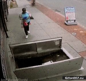 Funny Video, Fail, Falling, Woman, Hole, Gif