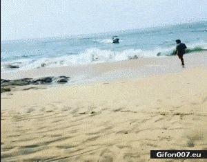 Funny Video, Parking Boat, Beach, Sea, Gif