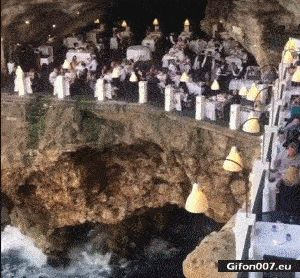 Cave, Waves, Restaurant, Italy, Video, Gif