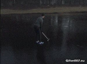 Funny Golf Fail, Ice, Video, Gif