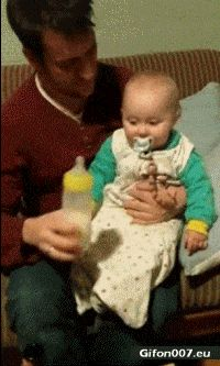 Funny Video, Baby, Drink, Milk, Beer, Gif