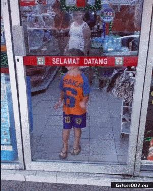 Funny Video, Boy, Glass Door, Fail, Gif