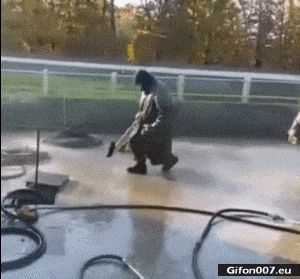 Funny Video, Man, Jumping, Hosepipe, Gif