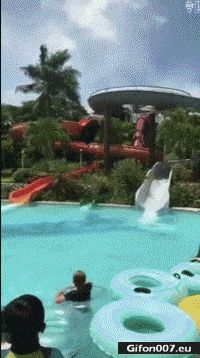 Funny Video, Water Slide, Man, Gif