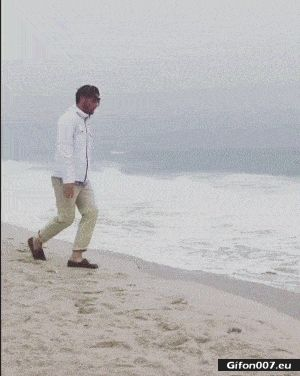 Funny Video, Beach, Sand, Man, Gif